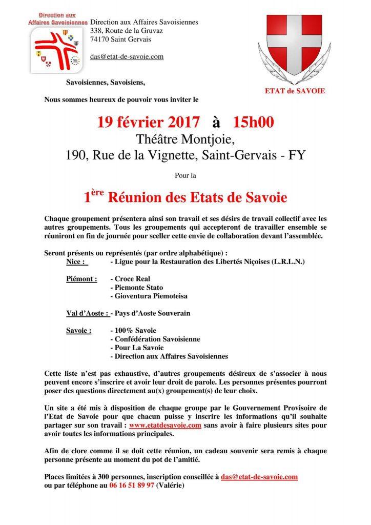 1ère réunion des Etats de Savoie - tilet