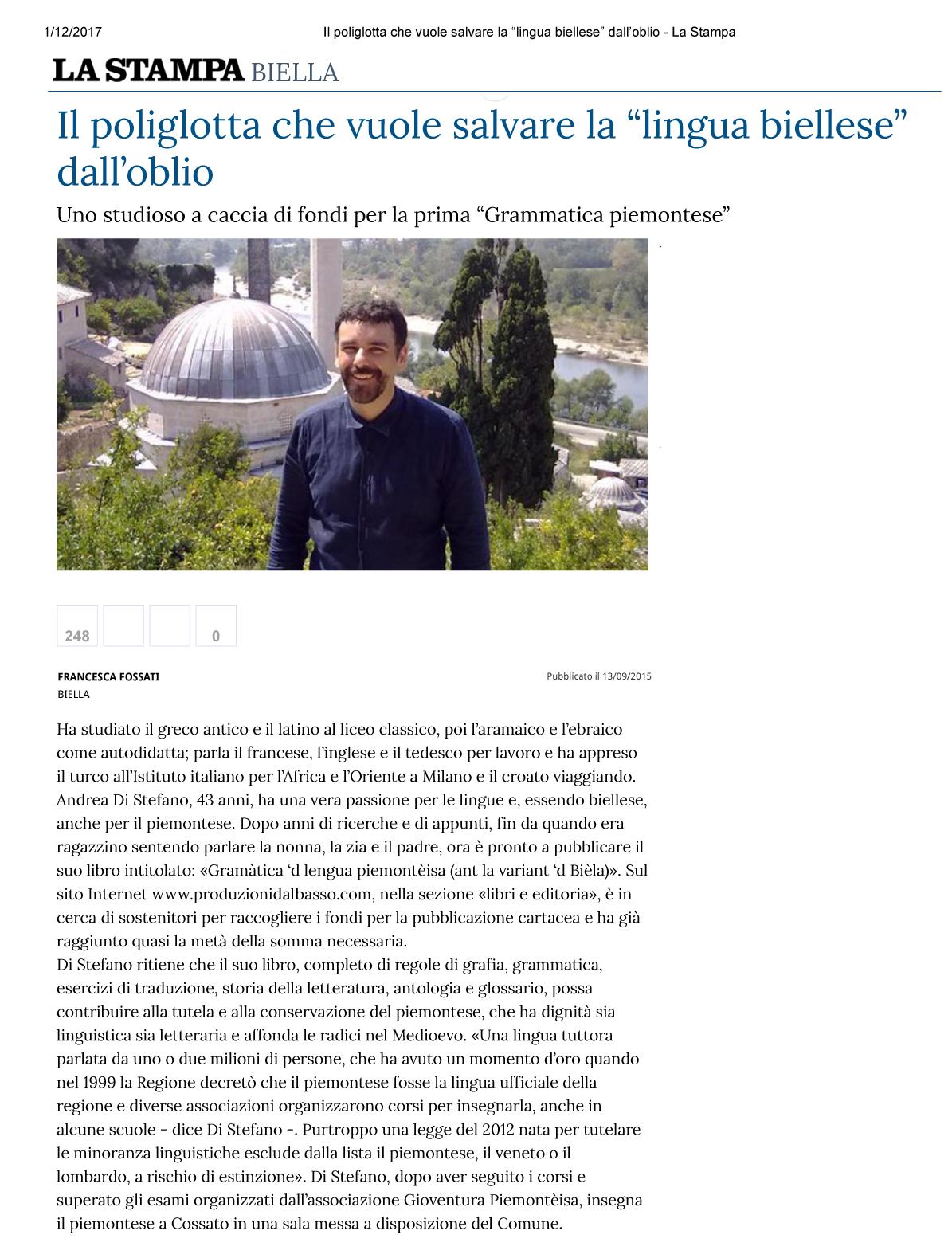 """Il poliglotta che vuole salvare la """"lingua biellese"""" dall'oblio - La Stampa1"""